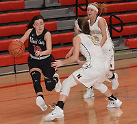 RICK PECK/SPECIAL TO MCDONALD COUNTY PRESS<br /> McDonald County's Ragan Wilson drives past Neosho's Hannah Lee during the Lady Mustangs' 41-29 loss on Feb. 23 in the opening round of the Missouri Class 4 District 12 Girls Basketball Tournament at Webb City High School.
