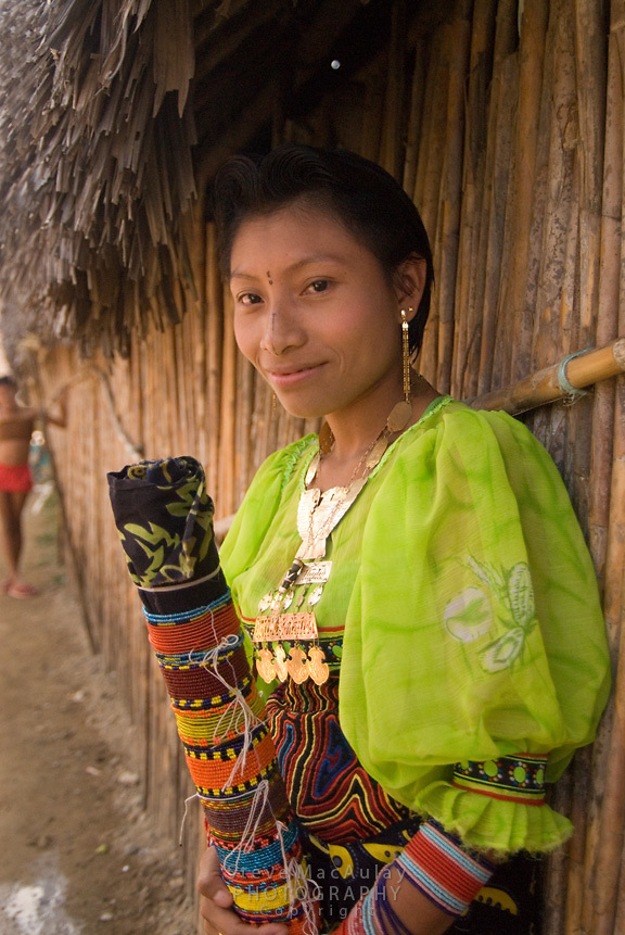 Young kuna girl with traditional face tattoos, Comarca De Kuna Yala, San Blas Islands, Panama
