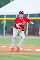 Johnson City Cardinals first baseman Casey Grayson (38) on defense against the Burlington Royals at Burlington Athletic Park on July 14, 2014 in Burlington, North Carolina.  The Cardinals defeated the Royals 9-4.  (Brian Westerholt/Four Seam Images)