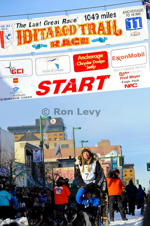 Iditarod musher Kristy Berington starts off on her second Iditarod race, Anchorage, Alaska, Iditarod 2011.