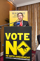 NO REPRO FEE. VOTE NO TO THE 30TH AMENDMENT. Mark Kelly, Director, Irish Council for Civil Liberties  is pictured at the Official launch of the 'NO' Campaign at the The Westbury Hotel, Dubliin. Picture James Horan/Collins.