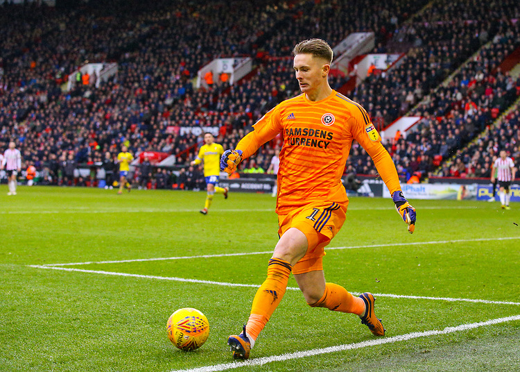 Sheffield United's Dean Henderson passes the ball to Leeds United's Jack Clarke, before conceding the only goal of the game <br /> <br /> Photographer Alex Dodd/CameraSport<br /> <br /> The EFL Sky Bet Championship - Sheffield United v Leeds United - Saturday 1st December 2018 - Bramall Lane - Sheffield<br /> <br /> World Copyright © 2018 CameraSport. All rights reserved. 43 Linden Ave. Countesthorpe. Leicester. England. LE8 5PG - Tel: +44 (0) 116 277 4147 - admin@camerasport.com - www.camerasport.com