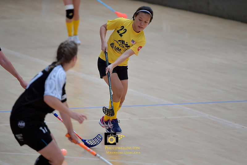 Malaysia's Ling Ling Ang in action during the World Floorball Championships 2017 Qualification for Asia Oceania Region - New Zealand v Malaysia at ASB Sports Centre , Wellington, New Zealand on Saturday 4 February 2017.<br /> Photo by Masanori Udagawa<br /> www.photowellington.photoshelter.com.