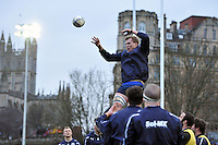Will Skuse wins lineout ball during the pre-match warm-up. Amlin Challenge Cup match, between Bath Rugby and Agen on January 12, 2013 at the Recreation Ground in Bath, England. Photo by: Patrick Khachfe / Onside Images