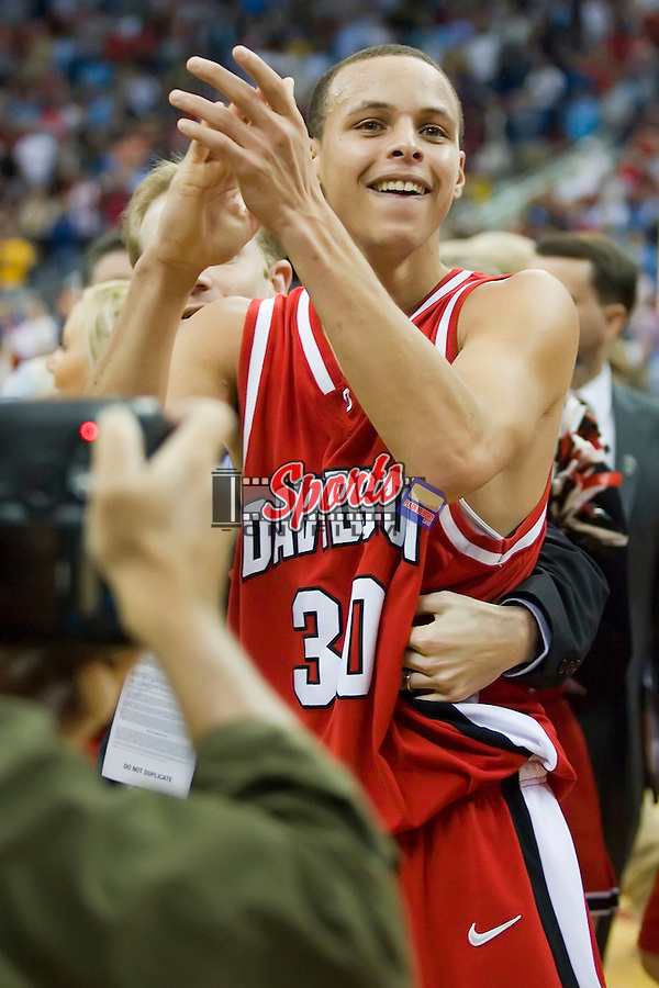 Stephen Curry (30) of the Davidson Wildcats celebrates after defeating the Gonzaga Bulldogs 82-76 in the first round of the 2008 NCAA Men's Basketball Championship at the RBC Center in Raleigh, NC, Friday, March 21, 2008.