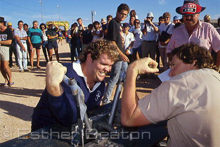 Arm-wrestling competition during Opal Festival, Coober Pedy, South Australia