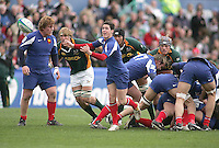 French scrum half Maxime Machenaud gets the ball away during the Division A U19 World Championship clash at Ravenhill.