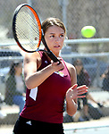NAUGATUCK CT. 17 April 2019-041719SV05-Ava Longo of Sacred Heart returns a ball while playing against Sabrah Cegielski of Naugatuck High during tennis action in Naugatuck Wednesday.<br /> Steven Valenti Republican-American