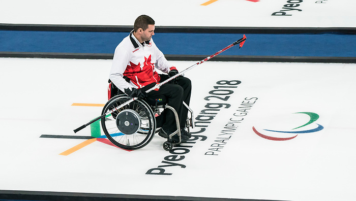 PyeongChang 14/3/2018 - Skip Mark Ideson as Canada takes on Slovakia in wheelchair curling at the Gangneung Curling Centre during the 2018 Winter Paralympic Games in Pyeongchang, Korea. Photo: Dave Holland/Canadian Paralympic Committee
