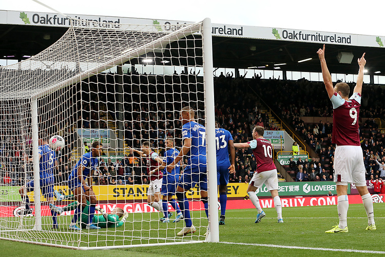 Everton's Jordan Pickford lays grounded after being beaten for the opening goal by Burnley's Jeff Hendrick (not pictured)<br /> <br /> Photographer Rich Linley/CameraSport<br /> <br /> The Premier League - Burnley v Everton - Saturday 5th October 2019 - Turf Moor - Burnley<br /> <br /> World Copyright © 2019 CameraSport. All rights reserved. 43 Linden Ave. Countesthorpe. Leicester. England. LE8 5PG - Tel: +44 (0) 116 277 4147 - admin@camerasport.com - www.camerasport.com