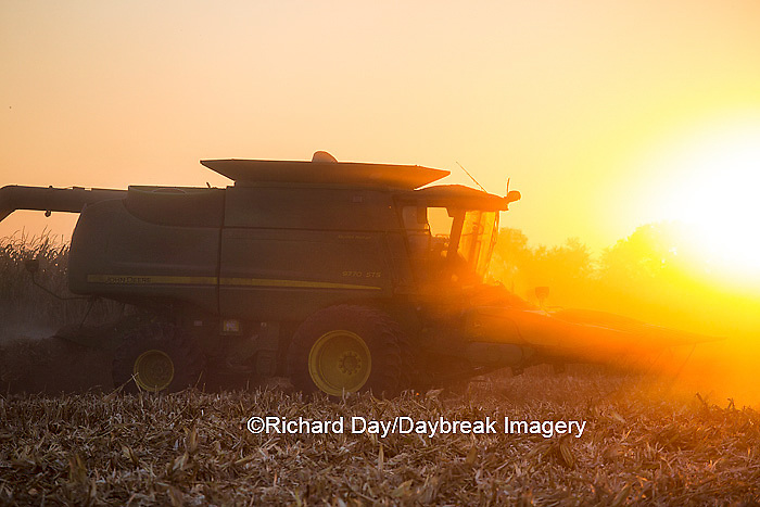 63801-06802 John Deere combine harvesting corn at sunset, Marion Co., IL