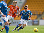 St Johnstone v Blackpool...25.07.15  McDiarmid Park, Perth.. Pre-Season Friendly<br /> Chris Millar and Brad Potts<br /> Picture by Graeme Hart.<br /> Copyright Perthshire Picture Agency<br /> Tel: 01738 623350  Mobile: 07990 594431
