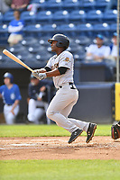 Charleston RiverDogs center fielder Josh Stowers (21) swings at a pitch during game one of a double header against the Asheville Tourists at McCormick Field on April 9, 2019 in Asheville, North Carolina. The Tourists defeated the RiverDogs 17-3. (Tony Farlow/Four Seam Images)