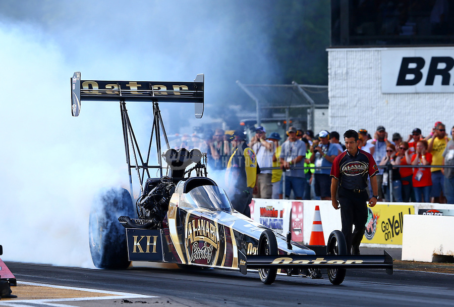 Aug. 16, 2013; Brainerd, MN, USA: NHRA top fuel dragster driver Khalid Albalooshi during qualifying for the Lucas Oil Nationals at Brainerd International Raceway. Mandatory Credit: Mark J. Rebilas-