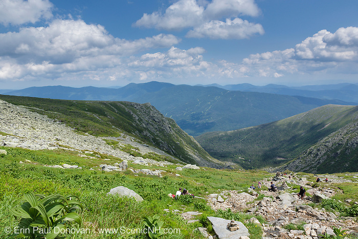 Mount Washington - Hikers on Tuckerman Ravine Trail in the White Mountains of New Hampshire USA.