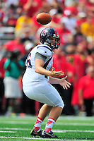 Punter D.J. Helkowski of Richmond mishandles the snap. Maryland defeated Richmond 50-21 during home season opener at the Byrd Stadium in College Park, MD on Saturday, September 5, 2015.  Alan P. Santos/DC Sports Box