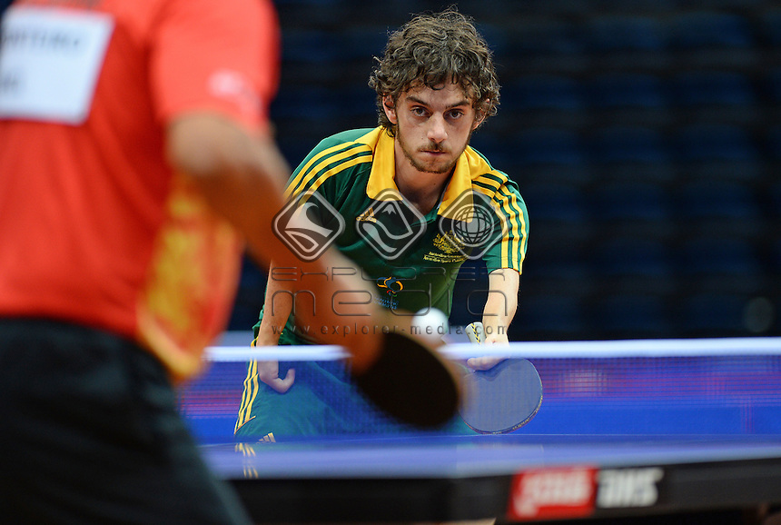 Jake Ballestrino (AUS)<br /> 2013 ITTF PTT Oceania Regional<br /> Para Table Tennis Championships<br /> AIS Arena Canberra ACT AUS<br /> Thursday November 14th 2013<br /> &copy; Sport the library / Jeff Crow
