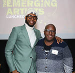 Jeremy O. Harris and Michael R. Jackson  during the Vineyard Theatre's Emerging Artists Luncheon honoring Charly Evon Simpson with the Paula Vogel Playwriting Award at the National Arts Club on November 25, 2019 in New York City.