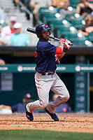 Pawtucket Red Sox second baseman Ivan De Jesus Jr. (13) follows through on a swing during a game against the Buffalo Bisons on June 28, 2018 at Coca-Cola Field in Buffalo, New York.  Buffalo defeated Pawtucket 8-1.  (Mike Janes/Four Seam Images)