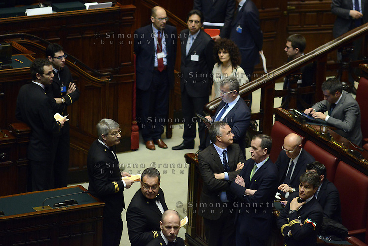 Roma, 20 Aprile 2013.Camera dei Deputati.Votazione del Presidente della Repubblica a camere riunite..Roberto Calderoli Lega nord