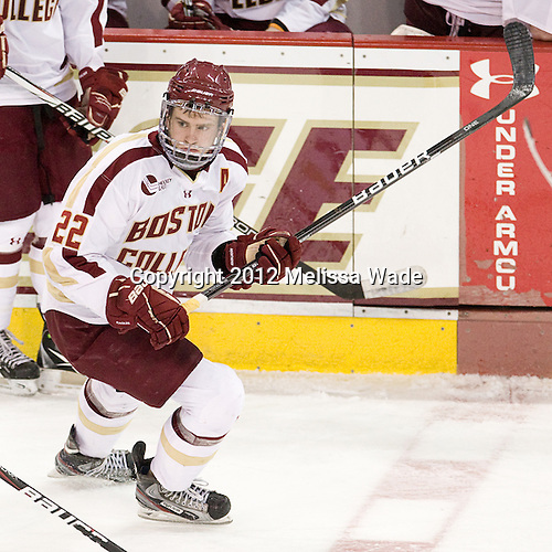 Paul Carey (BC - 22) - The Boston College Eagles defeated the Providence College Friars 7-0 on Saturday, February 25, 2012, at Kelley Rink at Conte Forum in Chestnut Hill, Massachusetts.