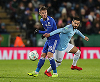 Manchester City's Ilkay Gundogan competing with Leicester City's James Maddison<br /> <br /> Photographer Andrew Kearns/CameraSport<br /> <br /> English League Cup - Carabao Cup Quarter Final - Leicester City v Manchester City - Tuesday 18th December 2018 - King Power Stadium - Leicester<br />  <br /> World Copyright &copy; 2018 CameraSport. All rights reserved. 43 Linden Ave. Countesthorpe. Leicester. England. LE8 5PG - Tel: +44 (0) 116 277 4147 - admin@camerasport.com - www.camerasport.com