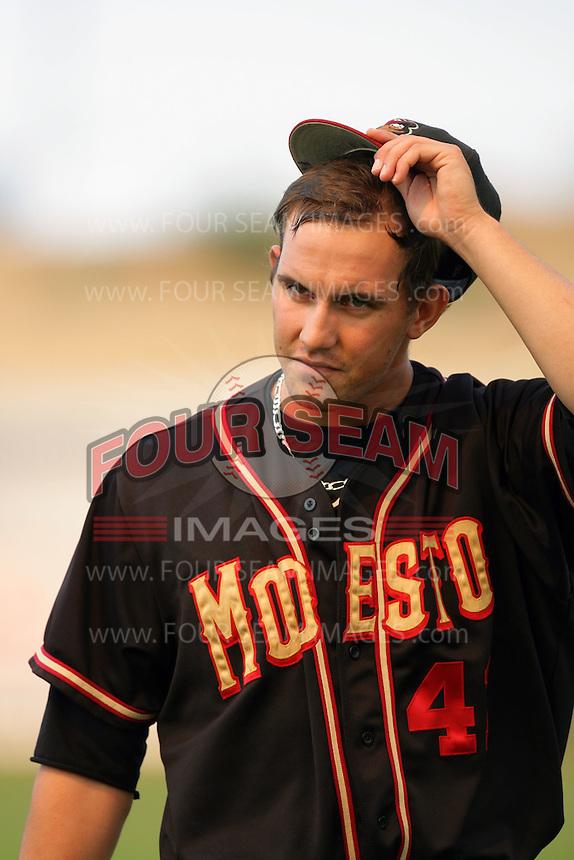 September 7 2009:  Christian Friedrich of the Modesto Nuts during game against the High Desert Mavericks at Mavericks Stadium in Adelanto,CA.  Photo by Larry Goren/Four Seam Images