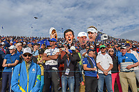 A capacity crowd was on hand complete with cardboard cutouts on 18 following Sunday's singles of the 2018 Ryder Cup, Le Golf National, Guyancourt, France. 9/30/2018.<br /> Picture: Golffile | Ken Murray<br /> <br /> <br /> All photo usage must carry mandatory copyright credit (© Golffile | Ken Murray)