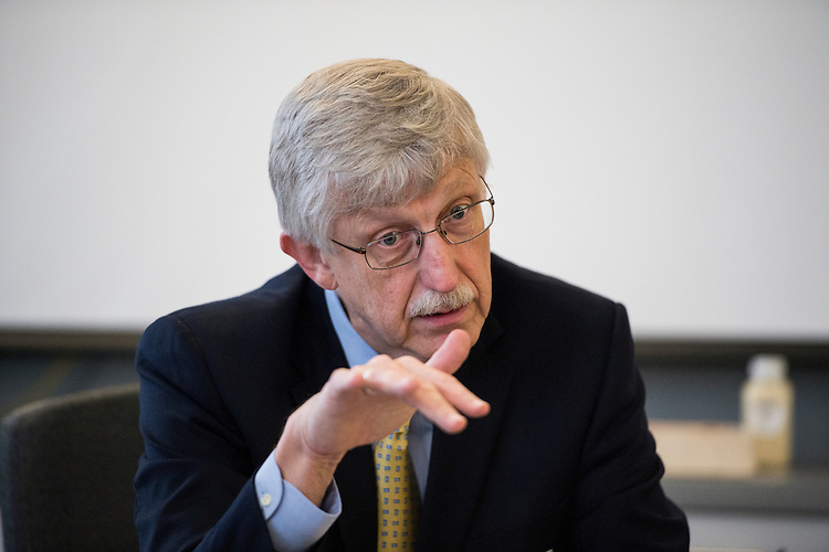UNITED STATES - MARCH 27: Francis Collins, the director of the National Institutes of Health, speaks with reporters at CQ Roll Call in Washington on Friday, March 27, 2015. (Photo By Bill Clark/CQ Roll Call)