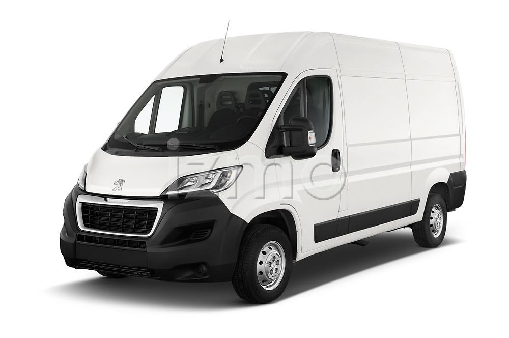2018 Peugeot Boxer Pro 3 Door Cargo Van angular front stock photos of front three quarter view