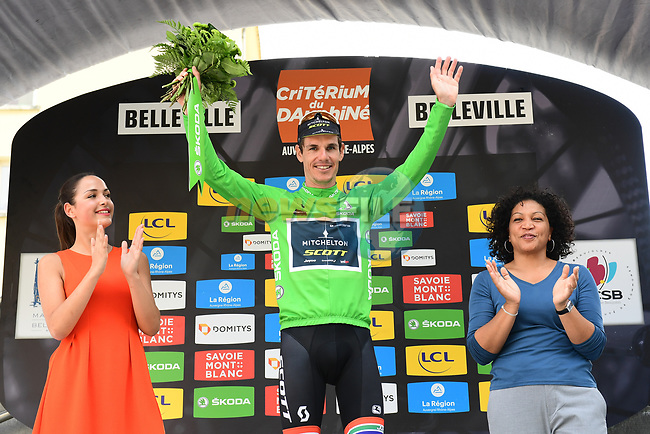Daryl Impey (RSA) Mitchelton-Scott also takes over the Maillot Vert at the end of Stage 2 of the 2018 Criterium du Dauphine 2018 running 181km from Montbrison to Belleville, France. 5th June 2018.<br /> Picture: ASO/Alex Broadway | Cyclefile<br /> <br /> <br /> All photos usage must carry mandatory copyright credit (© Cyclefile | ASO/Alex Broadway)
