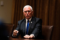 United States Vice President Mike Pence speaks during a meeting between President Donald Trump and members of the National Association of Police Organizations Leadership in the Cabinet Room of the White House in Washington, DC, on July 31st, 2020.<br /> Credit: Anna Moneymaker / Pool via CNP /MediaPunch