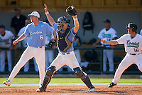 Catcher Mark Fleury #8 of the North Carolina Tar Heels calls for the ball against the Coastal Carolina Chanticleers at Boshamer Stadium May 30, 2010, in Chapel Hill, North Carolina.  Photo by Brian Westerholt / Four Seam Images