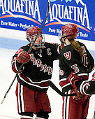 Jillian Dempsey (Harvard - 14), Mary Parker (Harvard - 15) - The Boston University Terriers defeated the visiting Harvard University Crimson 2-1 on Sunday, November 18, 2012, at Walter Brown Arena in Boston, Massachusetts.