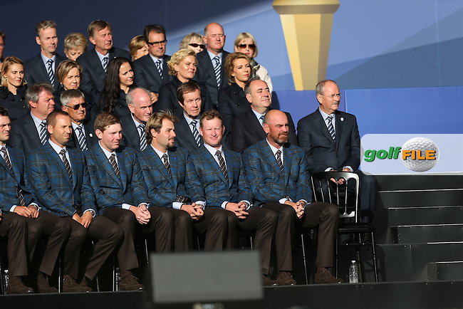 Europe team during The Opening Ceremony on Thursday at the 40th Ryder Cup, The Gleneagles Hotel, Perthshire from 26th to 28th September 2014<br /> Picture David Lloyd, www.golffile.ie