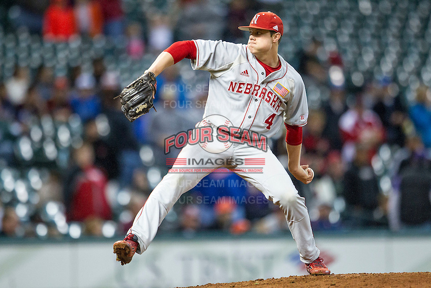 Nebraska Cornhuskers pitcher Jake Meyers (4) delivers a pitch to the plate during the Houston College Classic against the LSU Tigers on March 8, 2015 at Minute Maid Park in Houston, Texas. LSU defeated Nebraska 4-2. (Andrew Woolley/Four Seam Images)