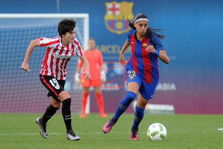 Spanish Women's Football League Iberdrola 2016/17 - Game: 11.<br /> FC Barcelona vs Athletic Club: 2-1.<br /> Erika Vazquez vs Andressa Alves.