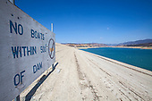 Castaic Dam on Castaic Lake, a terminus of the West Branch California Aqueduct is at 55% of capacity during California's declared drought State of Emergency. Los Angeles County, California, USA