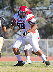 Palos Verdes, CA 10/27/17 - LaKaiye Walker (Morningside #58)in action during the Morningside Monarchs - Palos Verdes Peninsula Varsity football game at Peninsula High School.