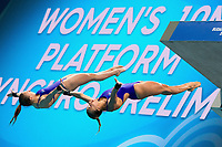 GBR COUCH Tonia-TOULSON Lois<br /> Women's 10m Synchro Platform Preliminary round<br /> Diving  16/07/2017<br /> XVII FINA World Championships Aquatics<br /> Duna Arena Budapest Hungary <br /> Photo @G.Scala/Deepbluemedia/Insidefoto