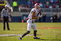 Hawgs Illustrated/BEN GOFF <br /> Deon Stewart, Arkansas wide receiver, catches a pass before running in a touchdown in the second quarter against Ole Miss Saturday, Oct. 28, 2017, at Vaught-Hemingway Stadium in Oxford, Miss.