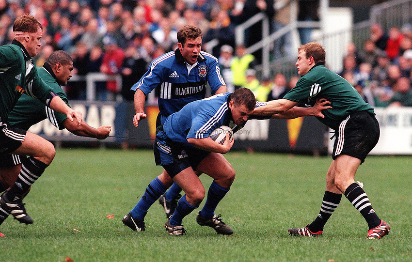 Photo: Ken Brown.13.11.99  Bath v Newcastle.Inga Tuigamala pulls Chris Horsman back by his shorts string