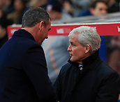 2nd December 2017, bet365 Stadium, Stoke-on-Trent, England; EPL Premier League football, Stoke City versus Swansea City;  Stoke City manager Mark Hughes welcomes Swansea City manager Paul Clement