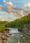 Cumberland Falls State Park, Kentucky: Sunset clouds over Cumberland Falls with the Cumberland River in spring