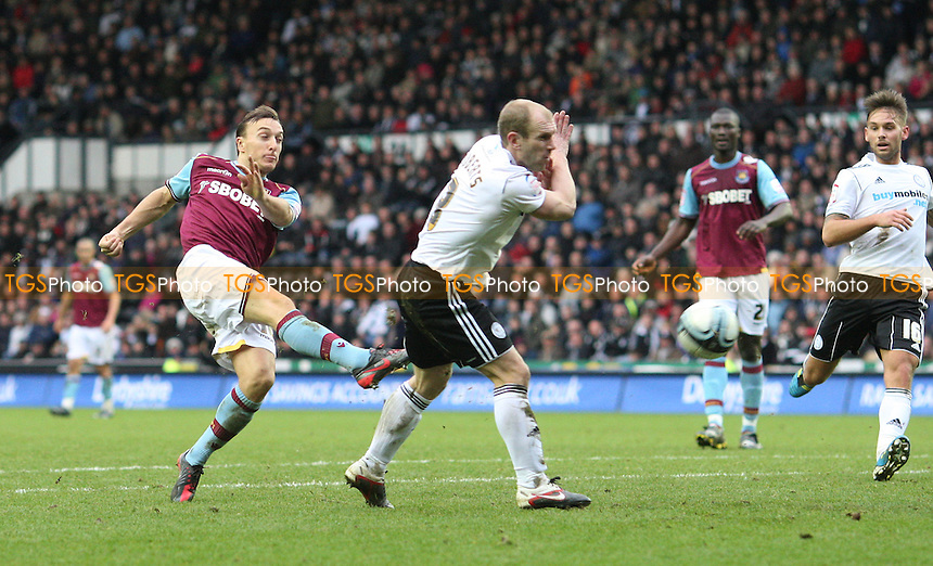 Mark Noble of West Ham gets in a 2nd half shot - Derby County vs West Ham United, npower Championship at Pride Park, Derby - 31/12/11 - MANDATORY CREDIT: Rob Newell/TGSPHOTO - Self billing applies where appropriate - 0845 094 6026 - contact@tgsphoto.co.uk - NO UNPAID USE.