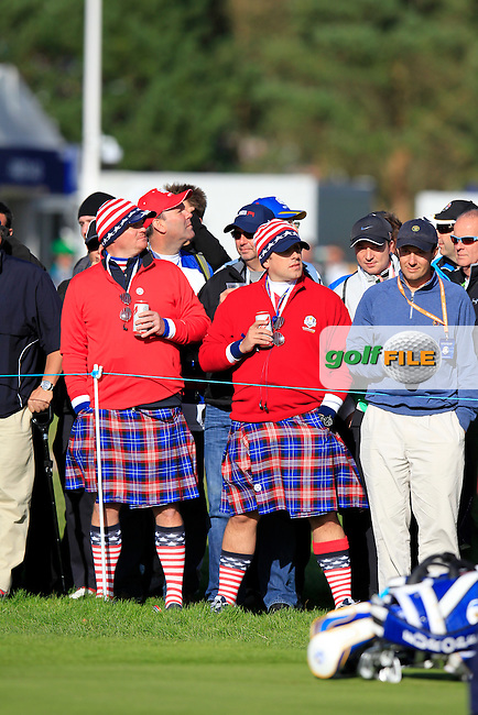 USA fans at the 12th green during the Friday afternoon foursome matches at the 2014 Ryder Cup at Gleneagles. The 40th Ryder Cup is being played over the PGA Centenary Course at The Gleneagles Hotel, Perthshire from 26th to 28th September 2014.: Picture Eoin Clarke, www.golffile.ie: \9/26/2014\