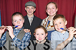 Actors: Taking part in the Recitation and Cultural Corner Competition on Saturday afternoon at Abbeydorney Community Centre were, front: Colm Walsh, Aoife Griffin and Brian Myers, Aghadoe. Back: Tomas and Katriona Cronin, Crohane, Fossa..