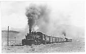 RGS #455 with D&amp;RGW 452 going on 2 1/2 % grade just west of Ridgway wye.<br /> RGS  Ridgway, CO  Taken by Maxwell, John W. - 9/5/1950