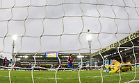 Luka Milivojevic of Crystal Palace watches as the ball flies away following his saved penalty by Goalkeeper Ederson of Manchester City during the Premier League match between Crystal Palace and Manchester City at Selhurst Park, London, England on 31 December 2017. Photo by Andy Rowland.