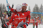 05/01/2014, Val Di Fiemme - 2014 Cross Country Ski World Cup Tour de ski <br /> Norway's Martin Johnsrud Sundby and Chris Jespersen at the finish of the Final Climb pursuit race in Val Di Fiemme, Italy on 05/01/2014. Therese Johaug from Norway has won for the first time Tour de ski.